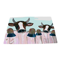 xmarc - Animal Area Rugs, Fence Cows - Fence cows farm animal area rugs, art appears on the top side, which is made of a soft plush polyester fabric. Bottom is made of durable white rubber mat with rounded and sewn corners.