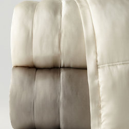 """Donna Karan Home - King Quilt 110"""" x 95"""" - CHARCOAL (110X95) - Donna Karan HomeKing Quilt 110"""" x 95""""DetailsBox-quilted silk charmeuse with subtle tufted border.Cotton back. Dry clean.Imported.Designer About Donna Karan Home:In 2001 renowned New York designer Donna Karan drawing inspiration from her world travels translated her sophisticated clean style into Donna Karan Home. With a focus on luxury and couture details the Donna Karan Home collection puts the iconic designer's touch on a beautiful range of options from tableware to bed linens and more. Look for touches such as hand embroidery exceptional attention to detail and fine fabrics including silk velvet and textured cotton."""