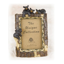 """PS - 10.5 Inch Tree Trunk Design with Black Bear Family 5 x 7"""" Photo Frame - This gorgeous 10.5 Inch Tree Trunk Design with Black Bear Family 5 x 7"""" Photo Frame has the finest details and highest quality you will find anywhere! 10.5 Inch Tree Trunk Design with Black Bear Family 5 x 7"""" Photo Frame is truly remarkable."""