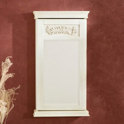 Imperial Wall Mount Jewelry Armoire - Antique White - The antique white finish and classically inspired design of this armoire will inspire your home with its lovely style. The Imperial Wall Mount Jewelry Armoire - Antique White is a beautifully crafted jewelry storage cabinet featuring decorative beaded trim and an elegant floral applique. The beveled mirror on the front of the armoire allows for convenient accessorizing all in one location. Inside you'll find an extensive arrangement of hooks for necklaces and bracelets pads for rings and pins racks for earrings and a removable tray for other accessories. The interior is lined with soft black felt to prevent scratches and keep things quiet when you open the door. This wall-mount jewelry armoire is made of highly durable MDF wood composite and wood veneer. The door has a keyed lock on the right side to secure your valuables. Two decorative keys are included. Perfect for a bedroom bathroom walk-in closet or entryway the Imperial Jewelry Armoire will add convenience and beauty to your home. Jewelry storage features:- 6 double hooks for hanging necklace and bracelet sets- 11 flat hooks for hanging multiple slender necklaces- 6 single hooks for more bracelets- 8 rows of ring storage- 3 racks of storage for hoop and hook earrings- Removable storage tray for stud earrings and other accessories About SEI (Southern Enterprises Inc.)This item is manufactured by Southern Enterprises or SEI. Southern Enterprises is a wholesale furniture accessory company based in Dallas Texas. Founded in 1976 SEI offers innovative designs exceptional customer service and fast shipping from its main Dallas location. It provides quality products ranging from dinettes to home office and more. SEI is constantly evolving processes to ensure that you receive top-quality furniture with easy-to-follow instruction sheets. SEI stands behind its products and service with utmost confidence.