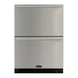 """Marvel - 60RDEBSF 24"""" 6.08 cu. ft. Built In Double Drawer Refrigerator With Stainless Ste - Capacity and convenience combine to give you the perfect environment for fresh food storage It has bright white LED interior lighting with a stainless steel interior and Marvel39s Dynamic Cooling Technology delivers quick temperature recovery Add E-Z..."""
