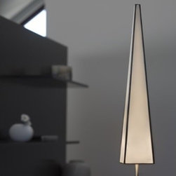 """Arturo Alvarez - Kono One Light Table Lamp - Enjoy this forceful and energetic shape that rises up and creates a dynamic volume where light is dispersed and shaded. Chiaroscuro that softens its height and makes it a lovely, willowy figure.. Learn more about the Kono One Light Table Lamp -Table lamp. -Kono collection. -Metal: Stainless steel. -Available in several color diffuser. SPECIFICATIONS: -Kono One Light Table Lamp accommodates: (1) 60 watt G9-max incandescent bulb, 120V (not included). -Overall dimensions: 25"""" H x 4"""" W x 4"""" D. Specifications"""