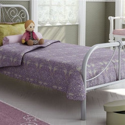 Amisco - Ballerina Twin Bed - Elegant curves. Dayglam metal frame. Textured silver finish. 78.25 in. L x 40.25 in. W x 36.13 in. H (64 lbs.)Coquette, free-spirited, graceful little girls will love the Ballerina bed. Its elegant curves, inspired by the Victorian trend, bring fantasy to the room and match any decor. Ballerina allows kids to fly in their dreams.