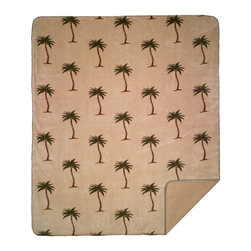 Throw Blanket Denali Palm Trees/ Cashew, 50 X 60 - Denali micro plush throws are considered the Cadillac of throws due to their rich colors and soft feel. These throws are softer and warmer than fleece.