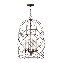 Cyan Design - Cyan Design Bird Cages Adele Transitional Foyer Light X-65740 - Imagine a pleasant appeal with the Cyan Design Bird Cages Adele Transitional Foyer Light.The frame has a delicate bird cage architecture and is finished in Oiled Bronze. Its candelabra houses four lamps resembling candles with a gorgeous warm appeal.