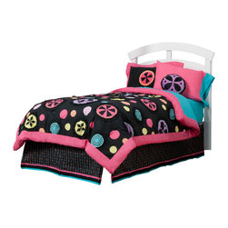 "Magical Michayla - Twin Set (6pc) - Let the ""Magic"" of ""Magical Michayla"" come to life in a room filled with color!  Bold black surrounded by Kaleidoscope like patterns showcased in hues of pink, blue, green, yellow, purple and orange make this collection perfect for all personalities. This 6pc set includes twin comforter, twin bed skirt,  twin flat sheet, twin fitted sheet, 1 standard pillowcase, 1 standard flanged pillow sham.  Magical Michayla twin comforter is reversible so depending on your style you can add a lot of detail or a little.  Comforter comes in our designer Magical Michayla cotton print fabric with detailed patterns trimmed in ruffled fabric adding detail to the entire set.   Opposite side in turquoise blue and entire front and back of comforter framed in pink.  Magical Michayla Flat and fitted sheets come with our turquoise blue cotton fabric, one standard pillowcase.  Bed skirt showcases Magical Michayla ""magic rows"" cotton print fabric trimmed in pink, black and turquoise fabric creating a simplistic detail to final touches on this collection. Standard pillowcase come in solid pink and trim in turquoise blue cotton fabrics.  Standard flanged sham is gorgeous in detail using bold black framed in pink with appliqu� of Magical Michayla signature pattern in minky centered on front of each.    SAVE WHEN YOU BUY AS A SET!"
