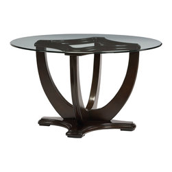 "Standard Furniture - Standard Furniture Mulholland Boulevard Round Glass Dining Table w/ Pedestal Bas - Refined transitional details give Mulholland Boulevard its polished cosmopolitan style, perfectly complimented by a dressy, mink brown stain. - 15160-DT.  Product features: Transitional Styling; Wooden lotus shaped table base; 12mm clear tempered glass 52"" table top, ogee edge ; Glass server doors with etched curved-X fret detail; X-shaped wine rack for bottle storage; Cove undertop and bead moldings; Flared saber legs on server feet and chair legs; Curved X-motif on chair reverse backs; 100% polyester tan linen-look upholstery fabric; 100% polyester tan linen-look upholstery fabric. Product includes: Table Base (1); Table Top (1). Round Glass Dining Table w/ Pedestal Base in Brown Cherry belongs to Mulholland Boulevard Collection by Standard Furniture."