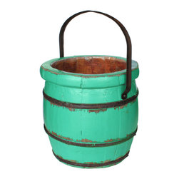 Antique Revival - Turquoise Vintage Sivas Barrel Bucket - This vintage wooden barrel bucket features an iron handle and works great for display on its own, or for storing small items. It could also look great with an arrangement of flowers spilling out. The distressed turquoise finish, iron handle and banding bring in a rustic vibe.