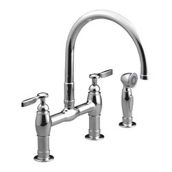 KOHLER: K-6131-4: Parq® deck-mount kitchen faucets with spray: Kitchen Sink Fau - As a softer alternative to the Blanco semi professional faucet, here's an option that will look great with a classic apron front sink.  With no shortage of curves and a vintage touch, this polished chrome model will be right at home in a farmhouse kitchen.
