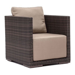 ZUO - Park Island Arm Chair - Deep, inviting cushions make the Park Island seats your favorite place to be. An aluminum frame with a polypropylene weave is complemented by water-resistant overstuffed cushions. Pieces sold separately.