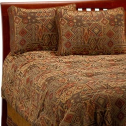 Croscill - Croscill Yosemite Comforter Set - A southwestern design in olive, rust and tan covers this Yosemite comforter set and accessories. The suede accents create a warm and comfortable atmosphere and the fringe tops off the style with a subtle western feel.