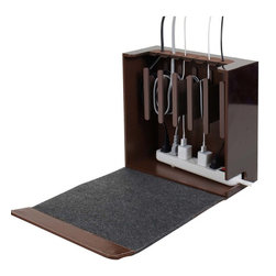 Great Useful Stuff - Cord Corral Cable and Cord Organizer - Zen, Rustic Modern, With 6-Outlet Power S - The Cord Corral may just be the ultimate cord and cable organizer you have ever come across. This sturdy compact unit has 6 easily removable magnetic spools that excess cords can be wound around and it has room for a powerstrip at the bottom so that the only cords exiting the unit will be the one cord from the powerstrip to the outlet, and the cords going up to the devices.