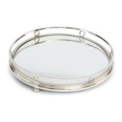 Go Home - Geometric Round Bar Tray - The Geometric Round Bar Tray frame is made from a strong metal and features a polished surface.Simple loops encircle the large tray and provide a most elegant look.It offers plentiful space to display drinks and serve small eats.