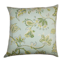 """The Pillow Collection - Walcott Floral Outdoor Pillow Green 20"""" x 20"""" - Freshen up your outdoor space with this floral decor pillow. This accent pillow will instantly brighten up your cabana, patio or garden with its refreshing hues in green, blue, brown and yellow. The floral pattern creates a charming twist to your furniture. Toss this 20"""" pillow with other patterns from our pillow collection. Made of high-quality synthetic materials. Hidden zipper closure for easy cover removal.  Knife edge finish on all four sides.  Reversible pillow with the same fabric on the back side.  Spot cleaning suggested."""