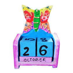 Beach House Accents - Childrens Block Calendar Small Butterfly Multi Colored - Wooden Calendars , meticulously hand carved and hand painted.