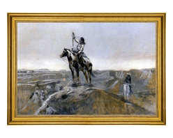 """Charles Marion Russell-16""""x24"""" Framed Canvas - 16"""" x 24"""" Charles Marion Russell WAR (also known as Indian Telegraphing) framed premium canvas print reproduced to meet museum quality standards. Our museum quality canvas prints are produced using high-precision print technology for a more accurate reproduction printed on high quality canvas with fade-resistant, archival inks. Our progressive business model allows us to offer works of art to you at the best wholesale pricing, significantly less than art gallery prices, affordable to all. This artwork is hand stretched onto wooden stretcher bars, then mounted into our 3"""" wide gold finish frame with black panel by one of our expert framers. Our framed canvas print comes with hardware, ready to hang on your wall.  We present a comprehensive collection of exceptional canvas art reproductions by Charles Marion Russell."""