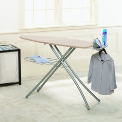 Home Products - Wide Top Ironing Board - HOMZ Professional Ironing System with large 18-inch wide steel mesh ironing surface 24-percent larger over standard boards. Professional 4-Leg for stylish stability and durability. Built in premium iron rest with silicone pads and integrated garment hanger. The patented leg lock insures easy transport while fully variable height adjustments to 39-inch for any comfort. Made in USA. Khaki