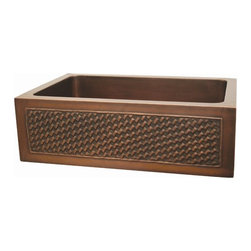 Whitehaus - Copperhaus Rectangular Kitchen Sink (Smooth B - Color: Smooth BronzeIncludes basket weaving design front apron. 14 gauge sink. Hand made. 3.5 in. center drain. Copper is IAPMO tested and 97.5 % pure certification. Inner: 27 in. L x 17 in. W x 10 in. H. Overall: 30 in. L x 20 in. W x 10.25 in. H (44 lbs.). Warranty. Copper Care97.5% is pretty much the purest copper you can get without it being too soft for practical applications.