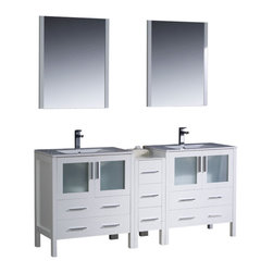 """Fresca - 72"""" White Double Sink Vanity w/ Side Cabinet & Int Cascata Brushed Nickel Faucet - Fresca is pleased to usher in a new age of customization with the introduction of its Torino line.  The frosted glass panels of the doors balance out the sleek and modern lines of Torino, making it fit perfectly in eithertown or country decor."""