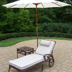 Oakland Living - 3-Pc Patio Cushioned Chaise Lounge Set - Includes chaise lounge with cushion, side table and 9 ft. umbrella with stand. Metal hardware. Lightweight. Fade, chip and crack resistant. Warranty: One year limited. Made from rust free cast aluminum. Antique bronze hardened powder coat finish. Minimal assembly required. End table: 17.5 in. W x 17.5 in. D x 19 in. H (15 lbs.). Chaise: 71 in. W x 25.5 in. D x 35 in. H (68 lbs.). Overall weight: 158 lbs.This Chaise lounger set will be a beautiful addition to your patio, balcony or outdoor entertainment area. Our Chaise lounger sets are perfect for any small space, or to accent a larger space. We recommend that the products be covered to protect them when not in use. To preserve the beauty and finish of the metal products, we recommend applying an epoxy clear coat once a year. However, because of the nature of iron it will eventually rust when exposed to the elements. The Oakland Mississippi Collection combines southern style and modern designs giving you a rich addition to any outdoor setting. The traditional lattice pattern and scroll work is crisp and stylish. Each piece is hand cast and finished for the highest quality possible.