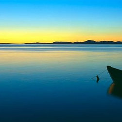 Walls 360, Inc. - Silhouetted Boat Moored Chukchi Sea Sunset Panoramic Fabric Wall Mural - Transform your empty walls with Walls 360's premium, repositionable wall graphics.