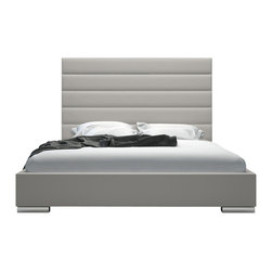 Modloft - Modloft Prince Platform Bed in Dusty Grey Leather - California King - Dusty Grey Leather Platform Bed belongs to Prince Collection from LOFT Series by Modloft Adorn your bedroom with the striking Prince bed. Its strong appearance features a tall natural leather headboard standing five feet tall with horizontal striped tufting. Tapered leather side rails and footboard complete the bed, and because of its trim proportions, the Prince can accommodate any limited space rooms. Low profile chrome feet finish its modern appearance perfectly. The mattress sits snuggly atop a solid pine-slat base for stylistic durability and added comfort. Platform height measures 14 inches (2 inch inset). Available in California-King, Standard King, Queen, and Full sizes. Colors available include White and Dusty Grey leathers. Assembly required. Mattress not included. Headboard (1), Base (1), Slats