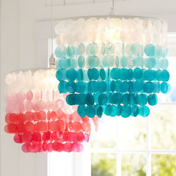 Ombré Capiz Chandelier - Bring a coastal feel to your home with this fun ombré chandelier. It would look great in a breakfast nook or a kid's/teen's bedroom.