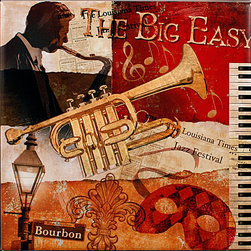 "Tile Art Gallery - The Big Easy - Jazz Themed Ceramic Accent Tile - This is a beautiful sublimation printed ceramic tile entitled ""The Big Easy"" by artist Conrad Knutsen. It features a jazzy, New Orleans inspired artwork."