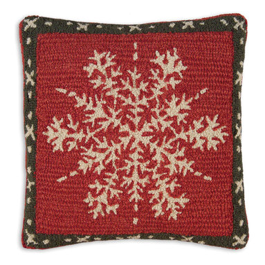 Chandler 4 Corners - Alpine Snowflake Hooked Pillow - This charming snowflake pillow is just the touch you need to spruce up your sofa or bed for the holidays! Our striking pillow is designed by acclaimed Vermont artist Laura Megroz. Our Cabin Fever 18 inch square hand-hooked pillow is carefully crafted from 100% New Zealand wool and features a zippered color coordinated velveteen backing with plush poly-fill pillow insert. Warm even the coldest heart with this precious holiday gift. Group our snowflake pillows and ski stockings for maximum holiday cheer that lasts for years!
