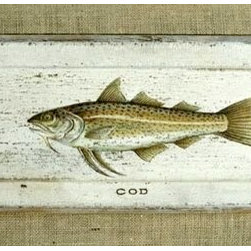 Painted Cod On Rustic Wood Plaque - Made by http://www.ecustomfinishes.com