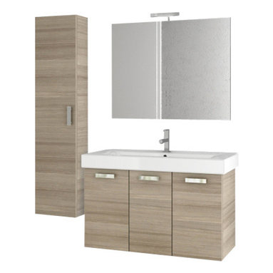 ACF - 40 Inch Larch Canapa Bathroom Vanity Set - Set Includes: Vanity Cabinet (3 Doors), high-end fitted ceramic sink, wall mounted vanity mirror, tall storage cabinet.
