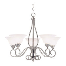 Savoy House - Savoy House Polar 1 Tier Chandelier in Pewter - Shown in picture: Designed by Karyl Pierce Paxton; The Pierce Paxton Polar collection with it�s clean and sophisticated lines paired with the curls - pewter finish and White Faux Alabaster glass make this collection a must have for any home.
