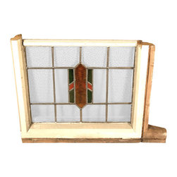 Antiques - Antique English Lead Glazed Stained Glass Window - This is a beautiful antique English lead glazed stained glass window. It has a traditional wo