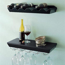 Wine Rack Shelf for Kitchen room - This set of  wine rack glass holders wine rack glass holders is made of MDF with metal racks. It's easy to install in a few minutes. You can hold and display your favorite wine on them, and also could hang many glasses on the metal racks.