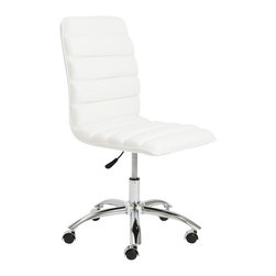 Eurostyle - Eurostyle Jaleh Office Chair No Arms in White and Chrome - Eurostyle - Office Chairs - 01298WHT - Often placed in a lobby or outside an office Jaleh takes up very little space and makes a big statement. The upholstered horizontal cushions are as good looking as they are comfortable. The simple, chromed steel base has just a slight 'springiness' to make the sitter feel sensational.