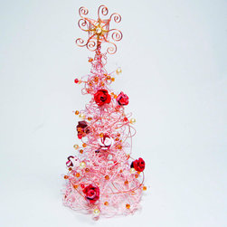 Pink Wire Christmas Tree Decoration by Wire Art Ink - Roses, pearls and pink — can any accent tree be more girly than this one?