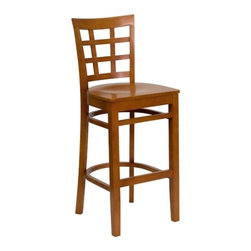 """FlashFurniture - Hercules Series Window Back Wooden Restaurant Bar Stool - Features: -Restaurant bar stool. -Available in Cherry, Mahogany, Natural or Walnut finishes. -Available with a 2.5"""" thick vinyl upholstered seat or a 0.75"""" thick wood seat. -Heavy duty restaurant bar stool. -Solid European beech hardwood construction. -Plastic floor glides. -Mortise and tenon style construction with metal wood screw reinforcements. -Foot rest. -Window back design. -Two curved support bars. -Designed for commercial use and suitable for home use. Specifications: -Seat black vinyl sizes: 30.5"""" H x 17.5"""" W x 16"""" D. -Seat burgundy vinyl sizes: 30.5"""" H x 17.5"""" W x 16""""D. -Seat cherry sizes: 29.25"""" H x 17.25"""" W x 16""""D. -Back black vinyl sizes: 14.5"""" H x 15""""W. -Back burgundy vinyl sizes: 14.5"""" H x 15""""W. -Back cherry sizes: 15"""" H x 15"""" W. -Overall dimensions: 44"""" H x 17.5"""" x 19"""" D."""