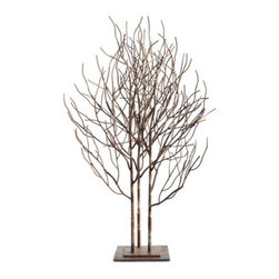 Grandin Road - Metal Tree Sculpture - Perfect for display on a mantel, shelf, or pedestal. Delicate branches are sculpted from metal wire; square base crafted from metal. Painted to resemble aged bronze with an antiqued and flecked brown finish. Create a chic forest scene upon your tabletop or mantel with our grove of trees, featuring delicately sculpted metal branches.  .  .  .