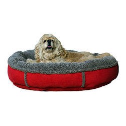 Frontgate - Faux Suede and Tipped Berber Pet Bed Dog Bed - 100% polyester fabric is machine washable (commercial machines recommended). 100% high loft polyester fill keeps pets off cold floors for added comfort and relief for joints. Overstuffed bolstered sides. Our Faux Suede and Tipped Berber Pet Bed makes a statement in any room, with its combination of rich faux suede and tipped berber accents. This bed provides perfect comfort and support for any pet. . . .