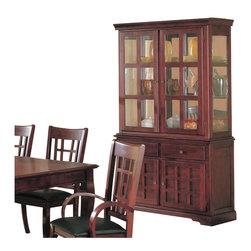 Coaster - Coaster Newhouse Buffet and Hutch China Cabinet in Cherry Finish - Coaster - China Cabinets - 100504 - Create a fantastic setting for dining in your home with the elegant Newhouse collection in a warm Cherry finish over birch veneers that will blend beautifully with your decor. The rectangular dining table with one 18-inch leaf creates a sophisticated place for up to six to dine. The arm and side chairs feature dark durable leather-like vinyl for style and comfort for sitting at the table. A buffet and hutch create a storage and display space to coordinate with your dining room furniture. Counter height dining options are great for your more casual dining and entertainment room too offering the same elegant and sophisticated style. The clean and sophisticated style of these pieces will complement your home for a space that you can really live in. Create a harmonious dining ensemble with this stunning collection perfect for entertaining friends and family.Add great display and storage to your dining room with the buffet and hutch china cabinet. The buffet base features two drawers and two doors with grid details. Use this storage space for dining accessories including silverware plates bowls glasses and more. The glass doors feature a wood frame that breaks up the glass of the door panes. The mirrored back and glass sides create an ideal spot to highlight collectibles plates vases and other items.Features: