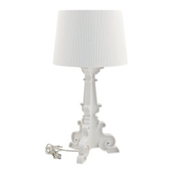 LexMod - Bourgie Style Acrylic Table Lamp in White - Establish a firm foundation and develop leadership potentials with this breathtaking centerpiece. Bourgie's beautifully flocked iridescent light pattern illuminates the value of many-faceted interactions with friends and family. Enjoy splendid abundance as this modern table lamp assumes a position of prominence among your circle of influence.