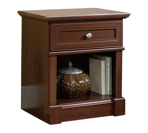 Sauder - Sauder Palladia Night Stand in Cherry Finish - Sauder - Nightstands - 411835 - A timeless classic style balanced between the past and the unique needs of the contemporary world. Designed around the universal architectural principals of symmetry the Palladia Collection rediscovers past insights and solutions that remain vital and relevant today. The collection features half and full round architectural columns and accented by handsome plinths throughout. Finished in Select Cherry each piece features framed doors that are wrapped by a classic profile and crowned by decorative oval nickel knobs. No matter what you select your piece will attractively house everything from media to office files with plenty of drawers shelves and places to organize. Whether your furniture needs are for the home office bedroom or simply a place for your new HDTV Palladia offers a relevant solution for all.  Features: