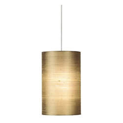 Tech Lighting - Tech Lighting 700MO2FABAS MO2Fab Pend almond, sn - Cylinder shaped shade, constructed of Indian silk with handrolled edges. Includes lowvoltage, 50 watt halogen bipin lamp or 6 watt replaceable LED module and six feet of fieldcuttable suspension cable.