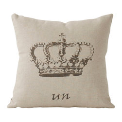 Zentique - Crown Pillow - King for a day! Make everyday a royal experience with this natural linen, square crown pillow, with the French word 'un', symbolizing the one and only — King (or Queen) — that's you! A throw pillow for your king- or queen-sized bed, porch swing or couch adds a regal touch to your home.