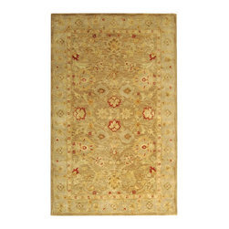 "Safavieh - Antiquities Brown/Gray Area Rug AT822B - 2'3"" x 4' - The elegant designs and rich colors of these rugs are inspired from 19th century antique Persian rugs. A special herbal wash gives these rugs their luster and an aged patina. This collection is hand tufted in India of 100% hand-spun premium wool."