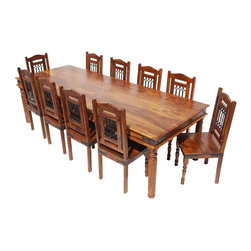 Sierra Living Concepts - 11 Piece Solid Wood Rustic Dining Set - Celebrate tradition with Rustic 11 Piece Dining Room Table and Chair Set. This classic blending of wrought iron and Indian Rosewood is a natural statement of sophistication. Attention to detail is evident throughout this quality furniture set.