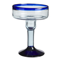 Cobalt Rim Margarita Glass - Classic margarita glasses with a cobalt blue rim are the perfect addition to your drinkware collection.