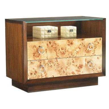 Lexington - Lexington Mirage Bergman Glass Top Nightstand - Compliment the side of your bed with a nightstand of great style, class, and personality. This nightstand is sure to become a focal point for visual interest in any master bedroom. The Bergman Glass Top Nightstand features a wood frame glass top that provides twice the display space in conjunction with the open compartment and two Mappa Burl front drawers. The drawers are beautifully adorned with silver polished ring pulls that work as a nice contrast to the glass and walnut composition.