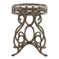 Lexington - Tommy Bahama Home Landara Capistrano Metal Dining Table Base - Casual dining, in its most sophisticated form, has a way of bestowing a sense of serenity and romance onto a room. Elegant metal scrollwork and leather strapping accents make this table base a destination in itself.