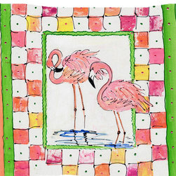 Caroline's Treasures - Bird - Flamingo Fabric Standard Pillowcase Moisture Wicking Material - Standard White on back with artwork on the front of the pillowcase, 20.5 in w x 30 in. Nice jersy knit Moisture wicking material that wicks the moisture away from the head like a sports fabric (similar to Nike or Under Armour), breathable performance fabric makes for a nice sleeping experience and shows quality.  Wash cold and dry medium.  Fabric even gets softer as you wash it.  No ironing required.